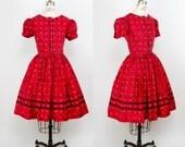 1950s Dress // Black and Red Cotton Ric Rac Trim Puff Sleeve Full Skirt Dress