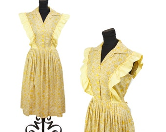 1940s Dress // Yellow Daisy Pinafore Ruffle Cotton Day Dress by Mode O Day