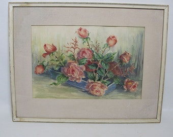 """Vintage Watercolor Painting Pink Roses Aqua Floral Still Life Initialed """"FCB"""""""