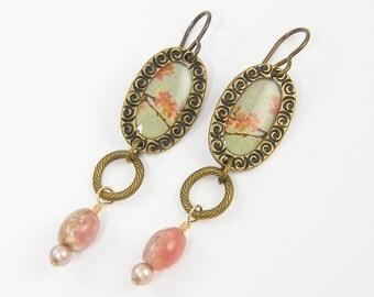 Pink Flower Earrings, Pink Blue Pastel Earrings, Cherry Blossom Long Dangle Earrings