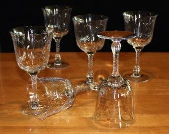 Pretty, Set of 6, Vintage Duncan & Miller, Chantilly, Water Goblets
