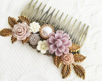 Lilac Wedding Hair Comb Bridal Hair Pin Mauve Purple Flower Headpiece Romantic Hair Slide Boho Elegant Chic Hair Comb