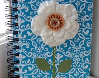5 x 7 Lined Blue Flower Journal