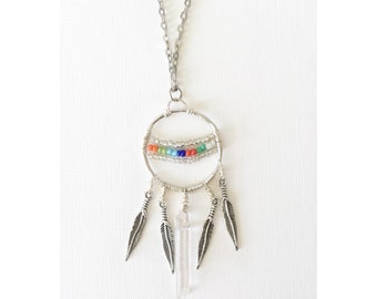 Boho chic glam dream catcher long layering silver necklace/ Music Festival jewelry/ Neo hippie jewelry/ Raw quartz crystal pendant necklace