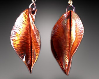 Copper Leaf Earrings copper leaves earrings copper earrings leaf earrings copper forged earrings fold form earrings flame patina earrings
