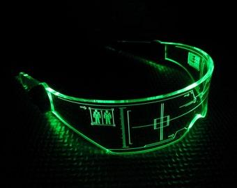 The original Illuminated Cyber goth visor Citadel **CLEAR** choose your LED colour