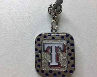 texas rangers  rectangle polkadot charm