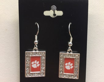 clemson tigers dangle earring new.