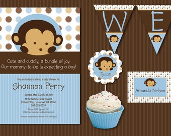 INSTANT DOWNLOAD Blue Monkey Baby Shower Essentials Printables Collection, Customizable MicroSoft Word Templates and Printable Files