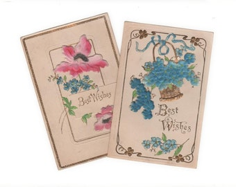 "2 antique puffy postcards, 3-D ""Best Wishes"" cards, forget-me-nots and poppies, public domain, postally unused, collector"