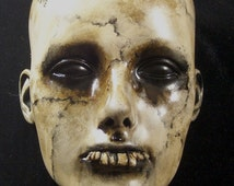HALLOWEEN Prop Creepy Morbid Wall Sconce Head Dark Circus Horror Wall Mount Or Table Top Vintage Lifesize Relic Detroit Artist/L.Cerrito
