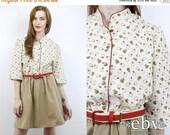 Secretary Dress 80s Dress Novelty Print Dress Work Dress Hipster Dress Vintage 80s Apple Print Day Dress L XL