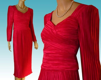 80s 90s GEORGE F. COUTURE Crimped Satin Bombshell Dress Lipstick Red Bust 34 Evening Prom Valentine