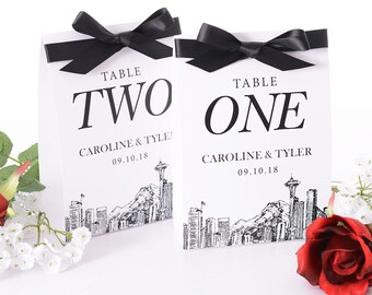 Seattle Wedding Table Number Tent Cards - Seattle Wedding Table Markers - City Skyline Wedding Decor - Stylish Wedding Table Tents