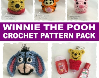 CROCHET PATTERN Bundle to make Winnie the Pooh EOS and Hand Sanitizer Holders.  Pooh, Tigger, Piglet, Eeyore. Pdf format, instant download.