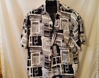 "Ringo Sport-44"" Chest-Medium-80s Vintage Graphic Art Shirt-Hipster Club Casual Man"