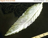 30%OFF SALE Huge Feather Pendant, Stamping, 88mm, raw brass, long, large feather - 1Pc - F089