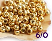 TOHO Seed beads, size 6/0, Permanent Finish - Galvanized Starlight Gold, PF557, golden, round, japanese glass - 10g - S411