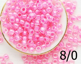 TOHO Pink Seed beads, size 8/0, Inside Color Crystal Ballerina Pink Lined, N 987, japanese glass rocailles - 10g - S1112