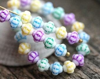 40pc Fancy bicone beads Mix in Pastel colors Blue, Mint, Yellow, Pink, Czech Glass pressed - 6mm - 2564