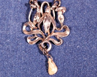 Antique Art Nouveau Sterling Pendant Necklace Mother Of Pearl Drop French Floral Jewelry