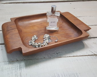 Vintage Handcarved Wooden Serving Tray Decorative Tray