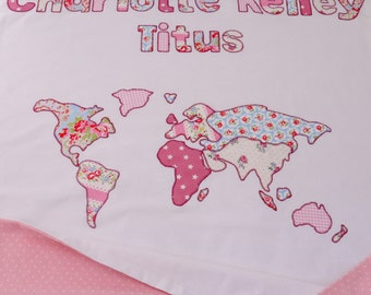 World map blanket etsy personalized map of the world baby blanket displaying babys name and map 100 gumiabroncs Images