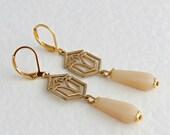 Ivory and Gold Art Deco Earrings .. art deco jewellery, gold dangle earrings, vintage wedding,  wedding jewellery, bridal earrings