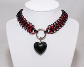 Chainmaille Choker Collar Black Heart Necklace Black and Red