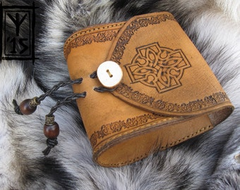 Leather belt pouch honey brown with Celtic knot design