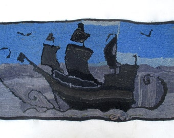 Antique Primitive Rag Hook Rug, Handmade, Sailing Ship, Folk Art, AAFA, 17x35