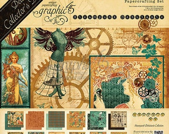 Graphic 45 Steampunk Debutante Deluxe Collection, 2 Sets of 12 Double Sided Papers (24 total), 1-Set of Chipboard Tags, 1-Sticker Sheet