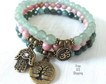 Yoga bracelet set, set of 3, Yoga set, mala bracelets, mala set, Hamsa bracelet, om bracelet, Yoga bracelets, stacking, Healing bracelet