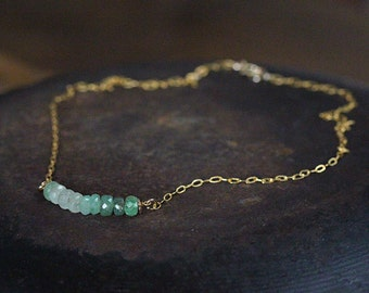 Emerald Bar Necklace - May Birthstone Necklace  - Green Emerald Line Necklace