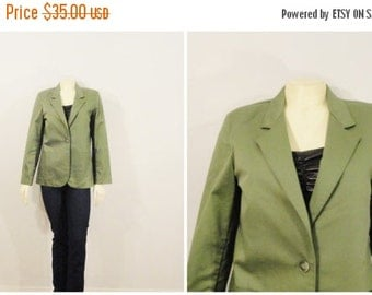 CLOTHING SALE Vintage Blazer 60s Mad Men Era Jantzen Green Khaki Jacket Size 10 Modern Size Medium