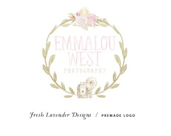 Custom Logo Design Premade Logo and Watermark for Photographers and Small Crafty Boutiques Watercolor Bouquet with Camera Hand Drawn