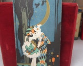 RESERVED 4 D art deco 1920's gold gilded artist signed Buzza bridge score pad harlequin and columbina embracing under a crescent moon