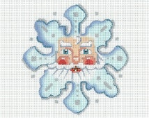 Needlepoint Handpainted Santa Ornament - Santa Snowflake