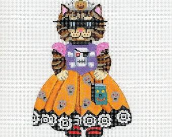 Hand Painted Needlepoint Canvas Halloween - Goth Kitty Princess