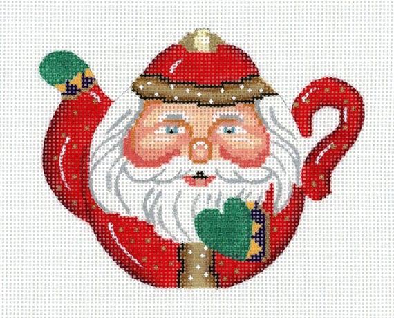 Needlepoint Handpainted Santa Ornament - Teapot Santa