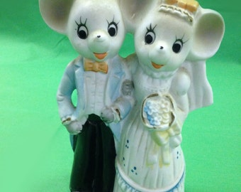 Mid Century Bisque Bride and Groom Mouse Cake Top or Figurine