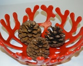 Red Fused Glass Coral Bowl