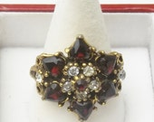 Garnet Red Hearts Rhinestone Gold Plate 1940's Adjustable Vintage Costume Jewelry Old Hollywood Glamour Ring