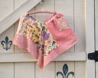Boho shrug shawl Patchwork shrug, One size shrug blush floral coverlet bolero sweater