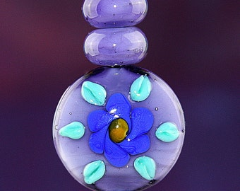 Floral Wheel Handmade Lampworked Glass Beads OOAK Coin Rondelles Set of Three Purple Blue Yellow Green Floral Lampwork