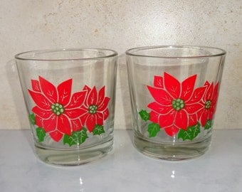 Vintage Christmas Poinsettia Highball Glasses Glass Tumblers Set of 2