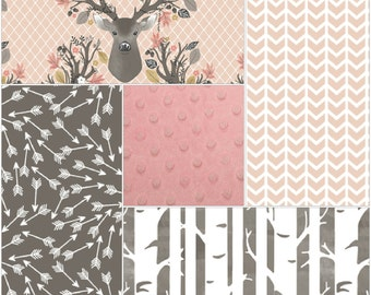 Baby Girl Crib Bedding - Forest Stag, Broken Chevron, Random Arrows, Birch Trees, and Blush Crib Bedding Ensemble