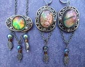 """Iridescent Opal Necklace and Earring Set - Sunset Storm """"Annun Arrna"""" (Elvish)"""