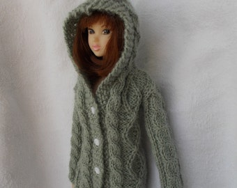 handmade hooded cardigan available for momoko,pullip,fashion royalty, barbie, azone...