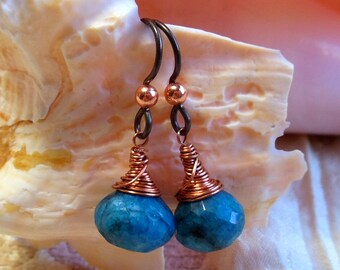 Blue earrings with copper, blue chrysocolla earrings, messy wire wrapped earrings, niobium hypoallergenic earring wires, new onion shaped